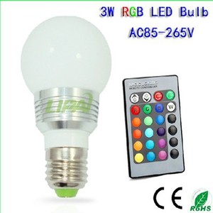 E27 Remote control RGB led bulbs 3W with high quality