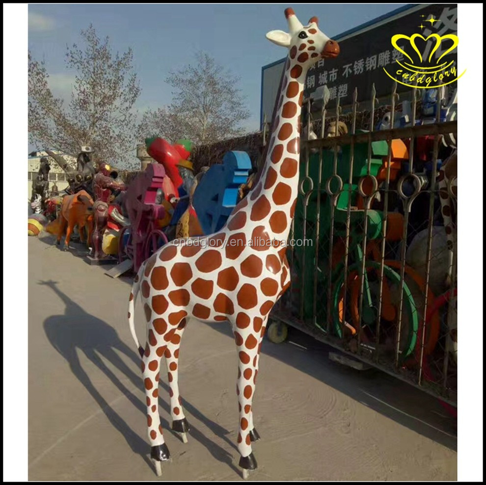 Hot sale modern art Amusement park garden decor fiberglass giraffe statue