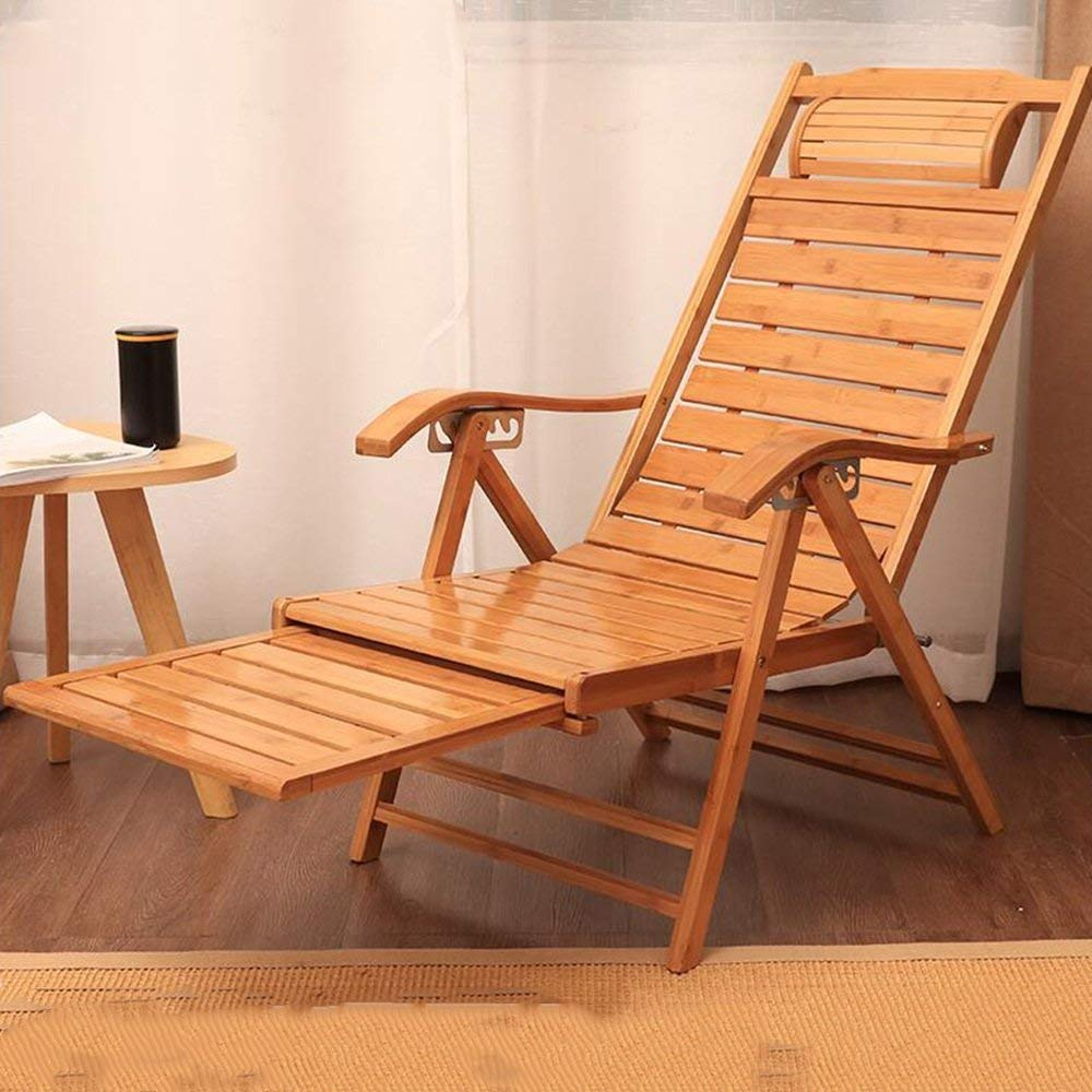 Rocking Chairs MEIDUO Bamboo Chairs Recliner Lounge Patio Chairs Folding 6 levels adjustable Outdoor Lounge Chairs w/Cushion