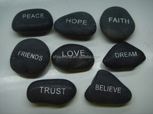 SQ 2015 2-3cm engraved inspirational words mixed river rocks