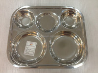 5 round compartments stainless steel cafeteria trays