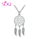 Bohemia Vintage Silver Feather Pendant Necklace 925 china jewelry silver For Women Fashion Boho Jewelry