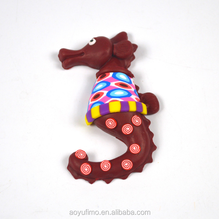 China supplier blue polymer clay fimo chocolate color sea horse flexible magnet fridge wholesale