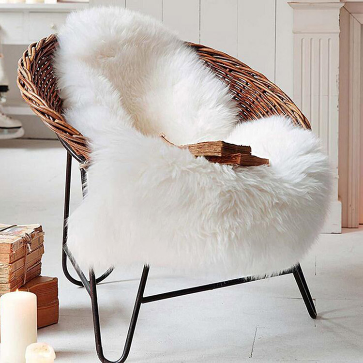 SZPLH Decorative Soft White Lambskin Faux Fur Rug For Living Room