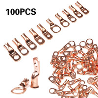 Professional Electrical Wire Ring Connectors Copper Tube Lug Battery 100pcs Electrical Bare Ring Terminals