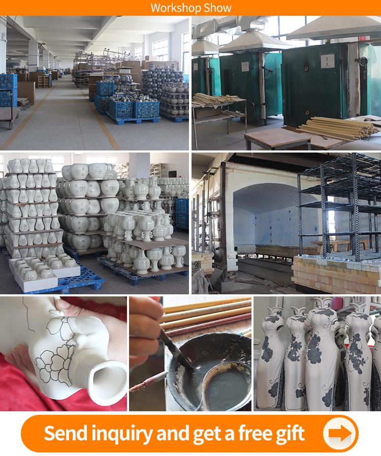 Goede kwaliteit en prijs van blauw wit china vaas antieke porseleinen vazen zwart aardewerk Fabriek Direct