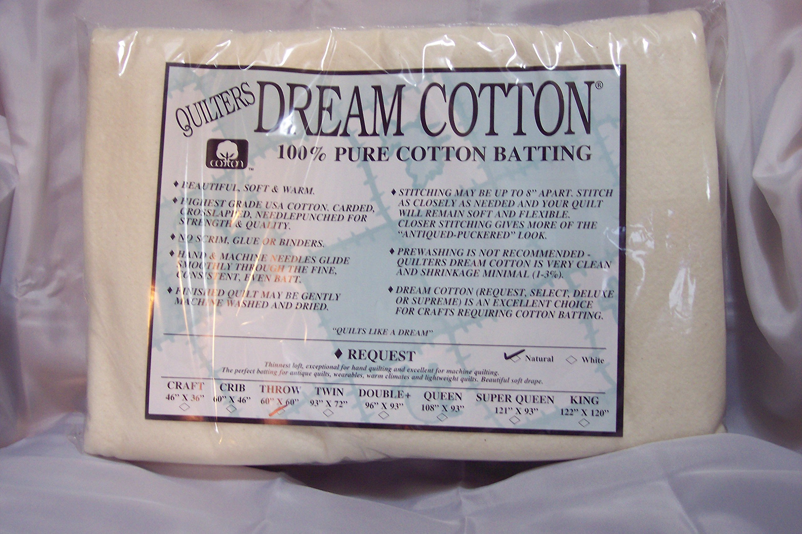 Quilter's Dream Batting- Natural Cotton Request- Thin Loft- Throw