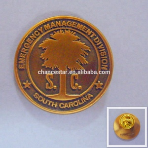 custom printing metal made round brass token pin badge