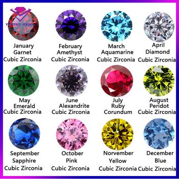12 Color Cubic Zirconia 5mm 6mm 7mm 8mm Cz Birthstones