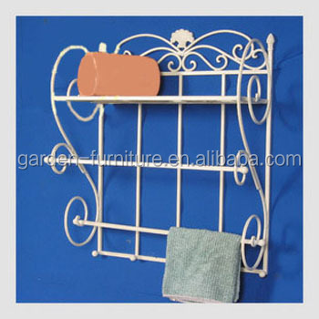 Home Decor White Hanging Shelf Rack Towel BarMetal Wall Shelf - Wrought iron bathroom wall shelves