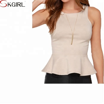 60043494dac6a5 Ruffle Sleeveless Fitted Formal Peplum Tank Tops For Woman 2018 ...