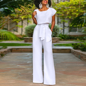19d8927d578 New Design Loose White Sexy Women Two Piece Set Jumpsuits And Rompers Women  Clothing