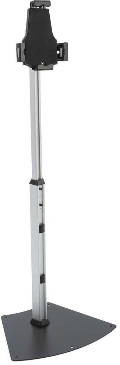 Displays2go Adjustable iPad Tablet Stand, Floor Kiosk, Locking Enclosure, Height Adjustable, Rotating and Tilting (TABFLATBBK)