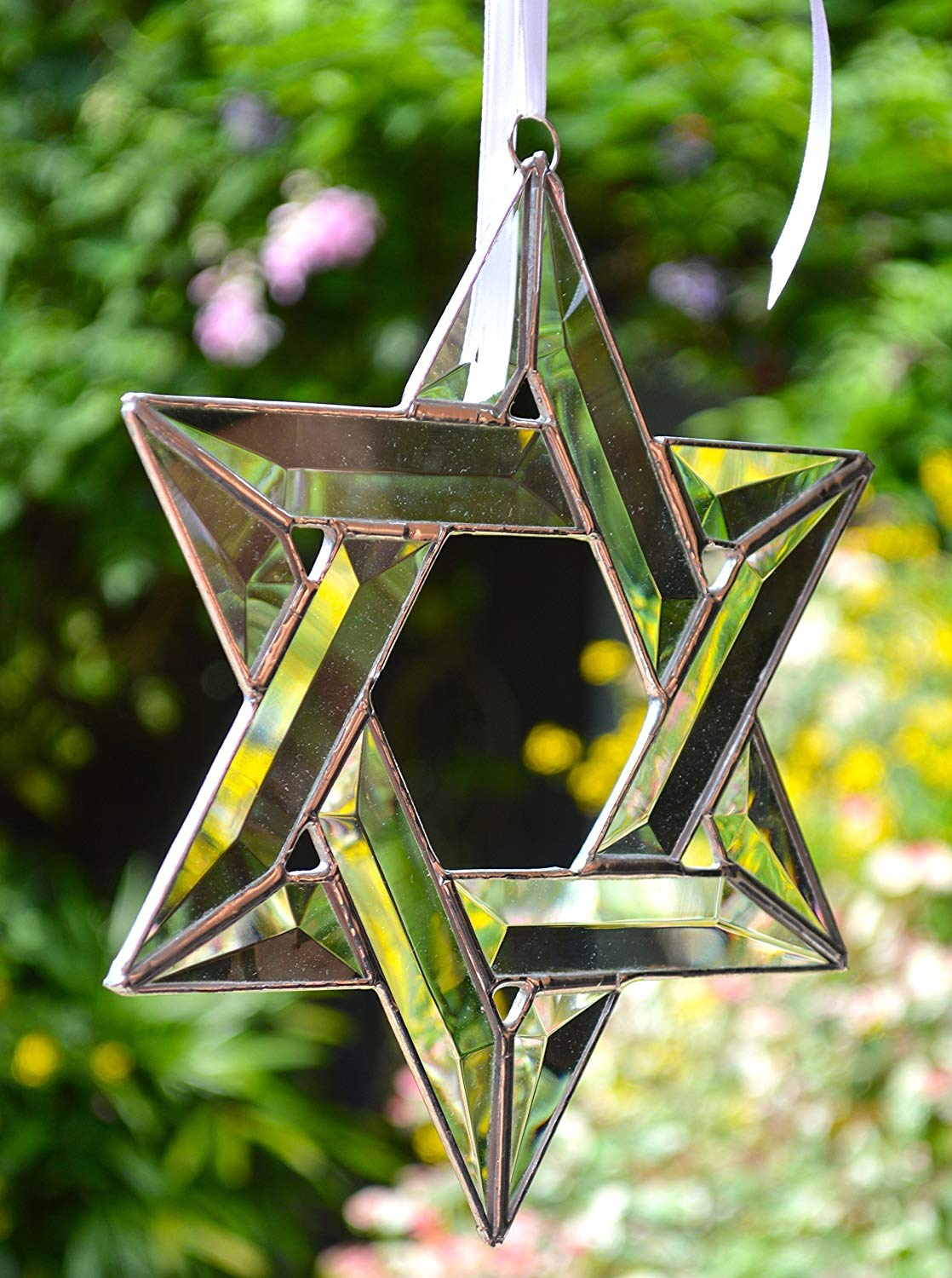 "STAR OF DAVID, Real Stained Glass, 12 Clear Bevels, Stunning !! 9"" x 9"" Judaic, Awesome gift!"