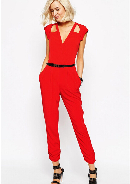 eb8e6998fcaf Get Quotations · 2015 New Sleeveless Deep V-Neck Hollow Out Poyester Pocket Fashion  sexy rompers womens jumpsuit