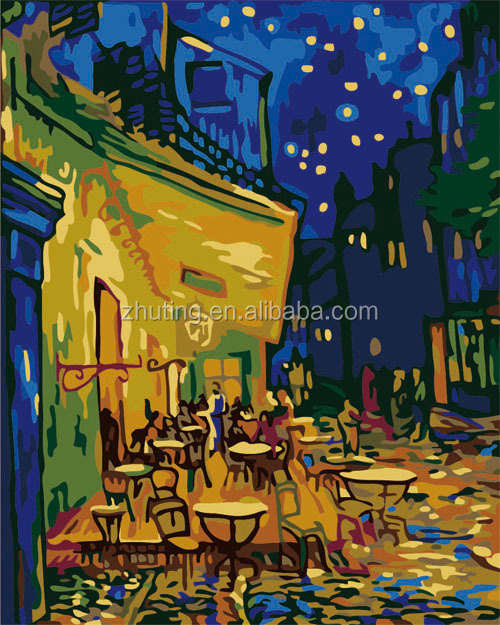 Chinese high quality wholesale handmade Van Gogh paintings cafe DIY oil painting
