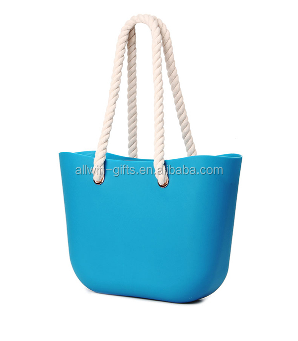 Ladies Blue Fashion Eva Beach Bag,Rubber Beach Bag With Rope ...