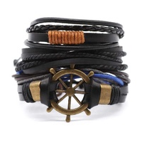 mens jewelry 2019 new arrival helm charm custom leather bracelet