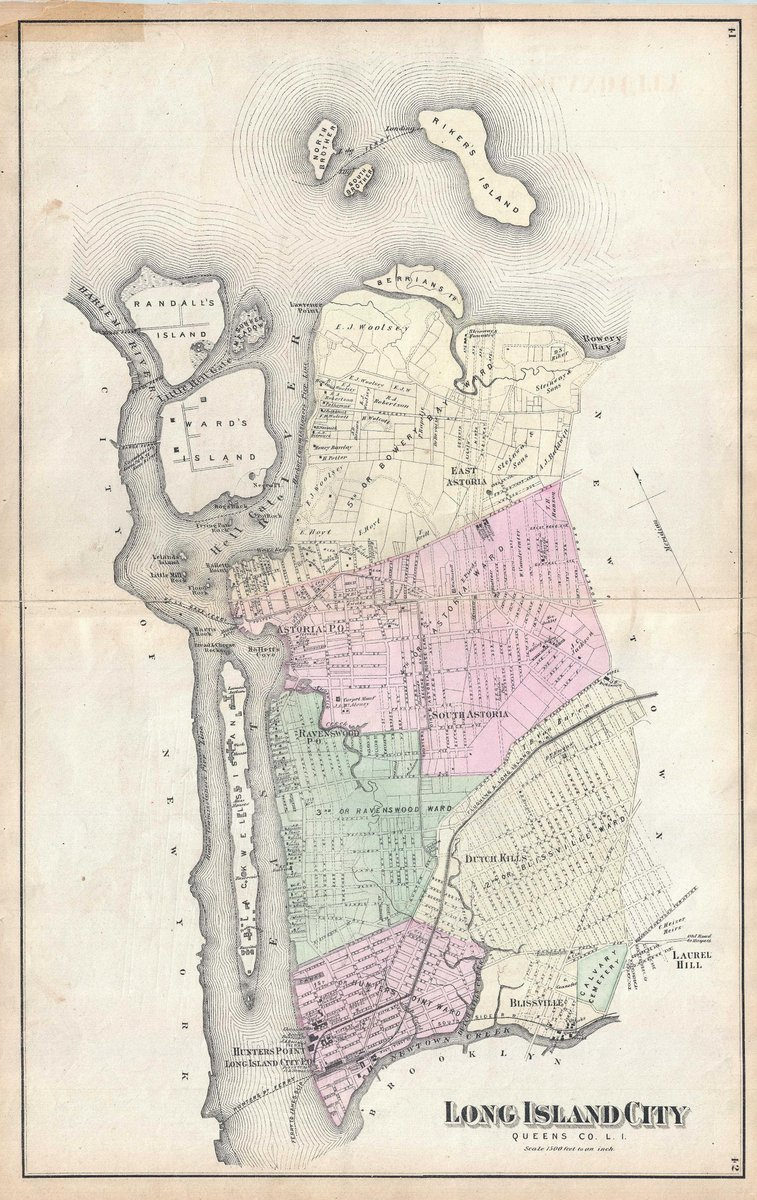 Historical 1873 Beers Antique Map of Astoria and Long Island City, Queens, New York City   16in x 24in Fine Art Print