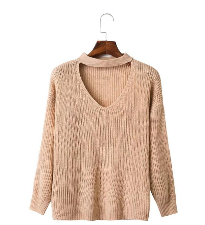 women long sweater design oversized V neck winter pullover factory in China
