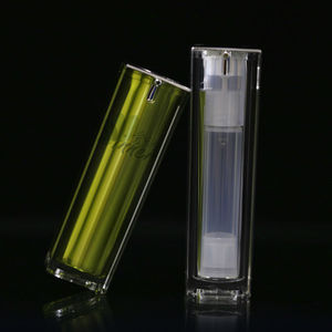 50ml Cosmetic Green Fading Square Closed Airless Pump Bottle