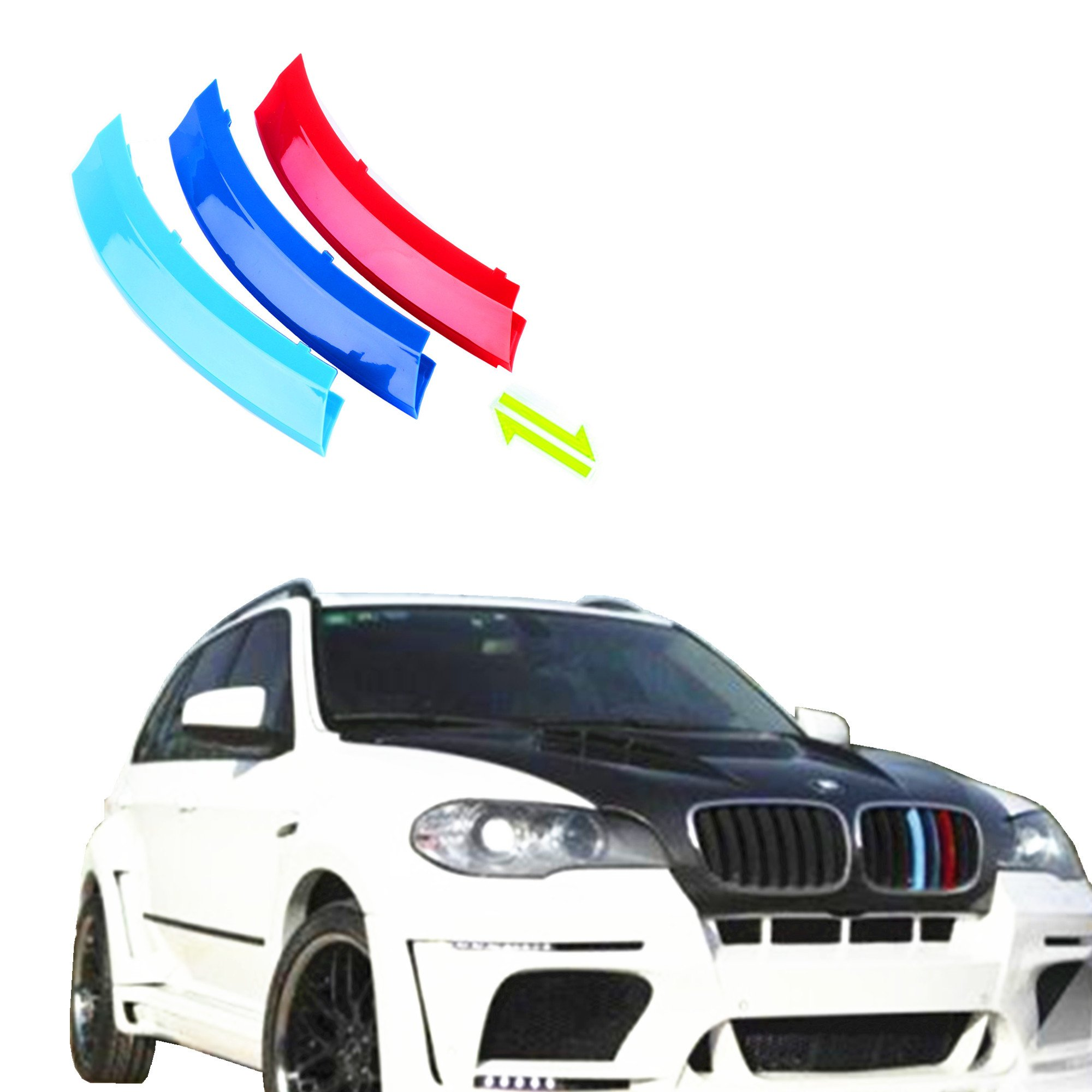 Jackey Awesome Exact Fit ///M-Colored Grille Insert Trims For 2008-2013 BMW E70 X5, 2008-2011 E71 X6 Center Kidney Grill