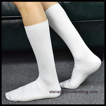 490b72027 wholesale high quality comfort cotton white sock Men's combed cotton over  the calf tube white socks