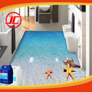 Custom 3D Gloss Liquid Water Clear Epoxy Paint Floor For PVC Logo Design