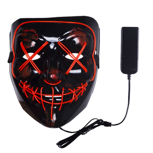2018 Neon Halloween Mask LED Light Up Party Masks The Purge PVC Mask Glow In Dark