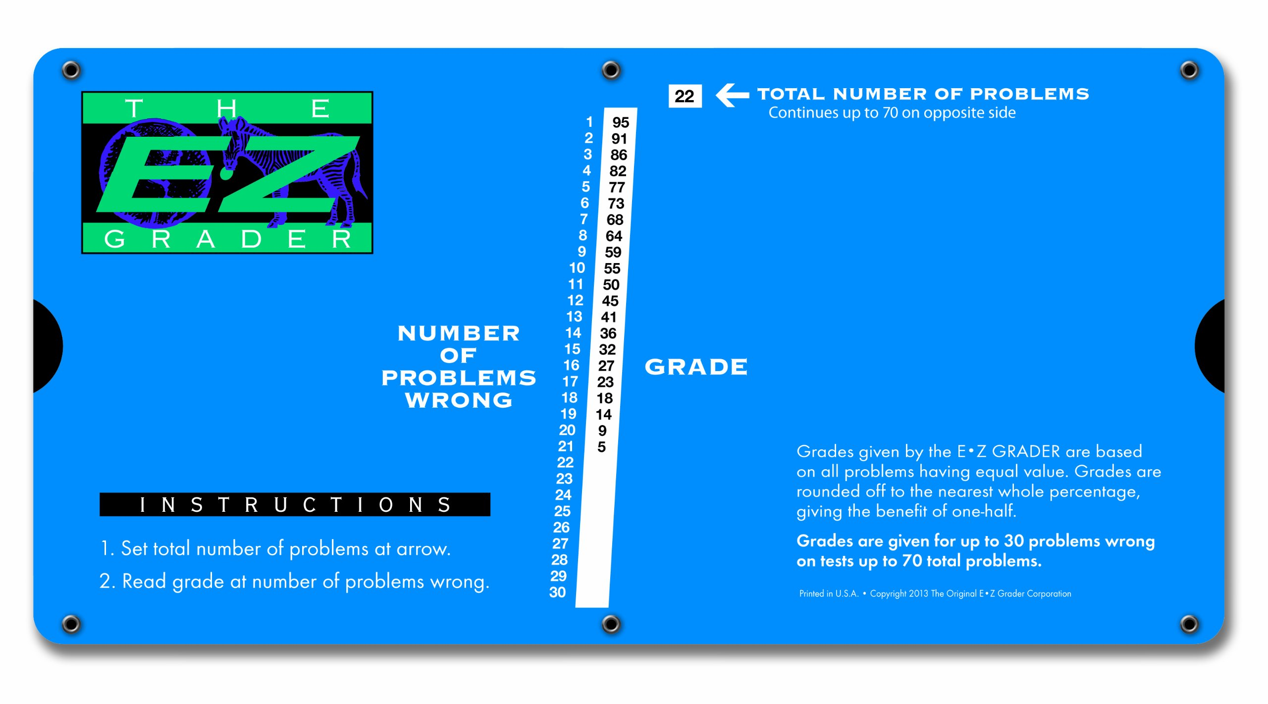 """E-Z Grader 7200 Large Print E-Z Grader, Educational Grading Chart, Computes Percentage Scores Up to 70 Questions, 10"""" x 5"""", Royal Blue"""