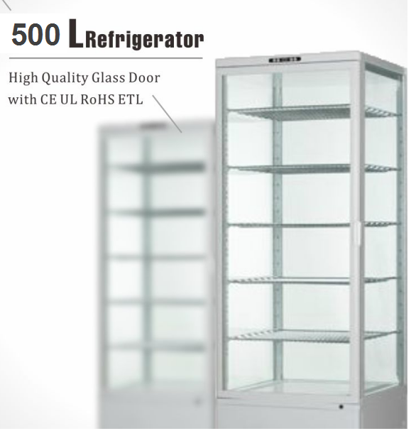 58L To 550L Four Sides Glass Door Cold Storage Drink Cake Pastry and Dessert Commercial Display Vertical Showcase
