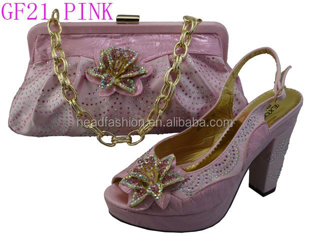 bags pink women with for and matching design shoes GF21 gold blinking B7OwZqZ6