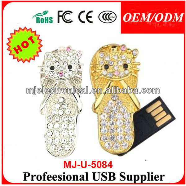 Jewelry KT Usb Slippers, Crystal Bulk Cheap Simulation Shoes Shape Usb Flash Drive