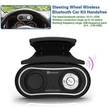 Car steering wheel Wireless Bluetooth Car Kit Handsfree Kit + MP3 Player USB + FM Transmitter Radio Modulator with Car Charger