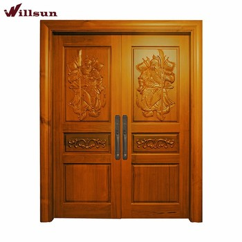 Luxury villa front main entry double door embossed carving for Double door designs for main door