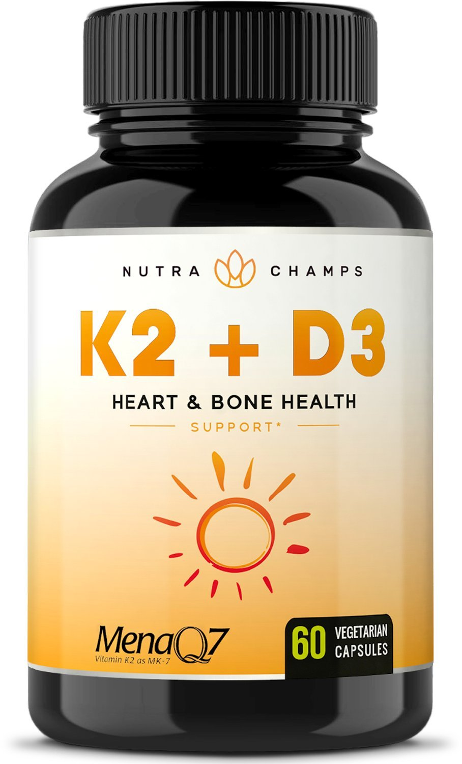 Vitamin K2 MK7 with D3 Supplement for Strong Bones & Healthy Heart - Premium Vitamin D & K Complex - 5000 IU of Vitamin D 3 & 100 mcg of MenaQ7 Vitamin K 2 MK-7-60 Small Vegan Capsules