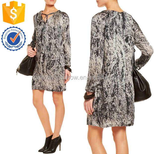Newest design women printed silk-satin mini dress with neck ties, keyhole front