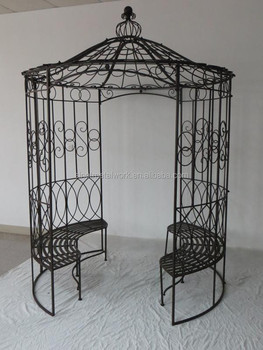 Elegant Wrought Iron Garden Arbor Gazebo With Two Beaches
