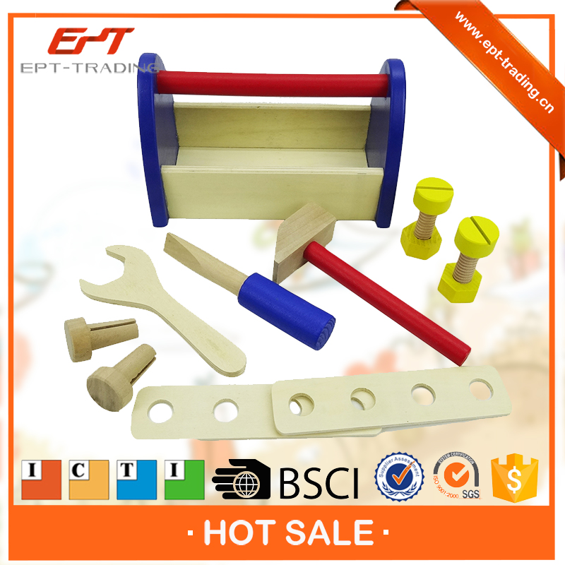 Best selling high quality wooden tool box toys for children playing tools