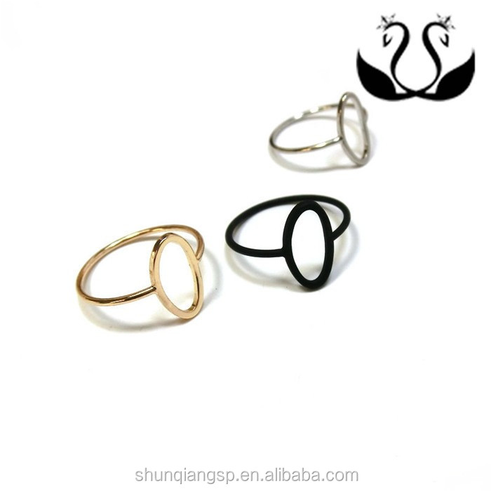 Latest wholesale gold and silver plated punk style ellipse copper design finger ring