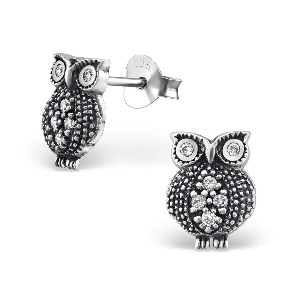 Women's//Girls Silver Plated Stainless Steel Wise Owl Stud Earrings