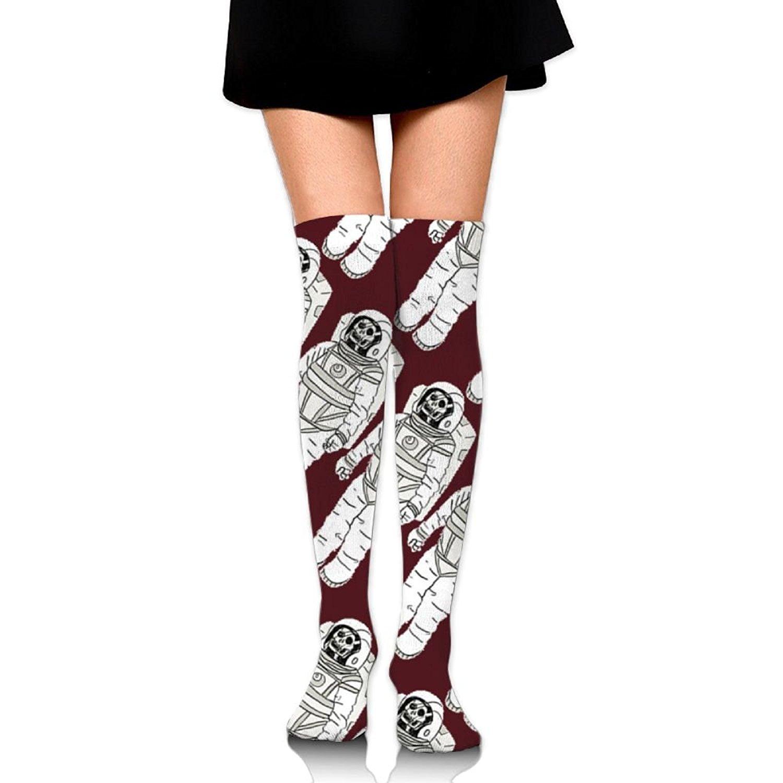 Zaqxsw Astronauts Skull Women Vintage Thigh High Socks Thermal Socks For Womens