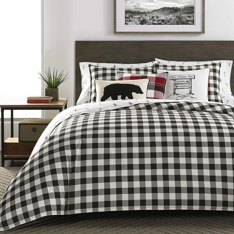 MS 3pc Black White Grey Gingham Plaid Themed Comforter King Set, Lodge Cabin Shepherds Check Bedding, Cotton Gray, Classic Checkered Tattersail Tartan Theme Pattern