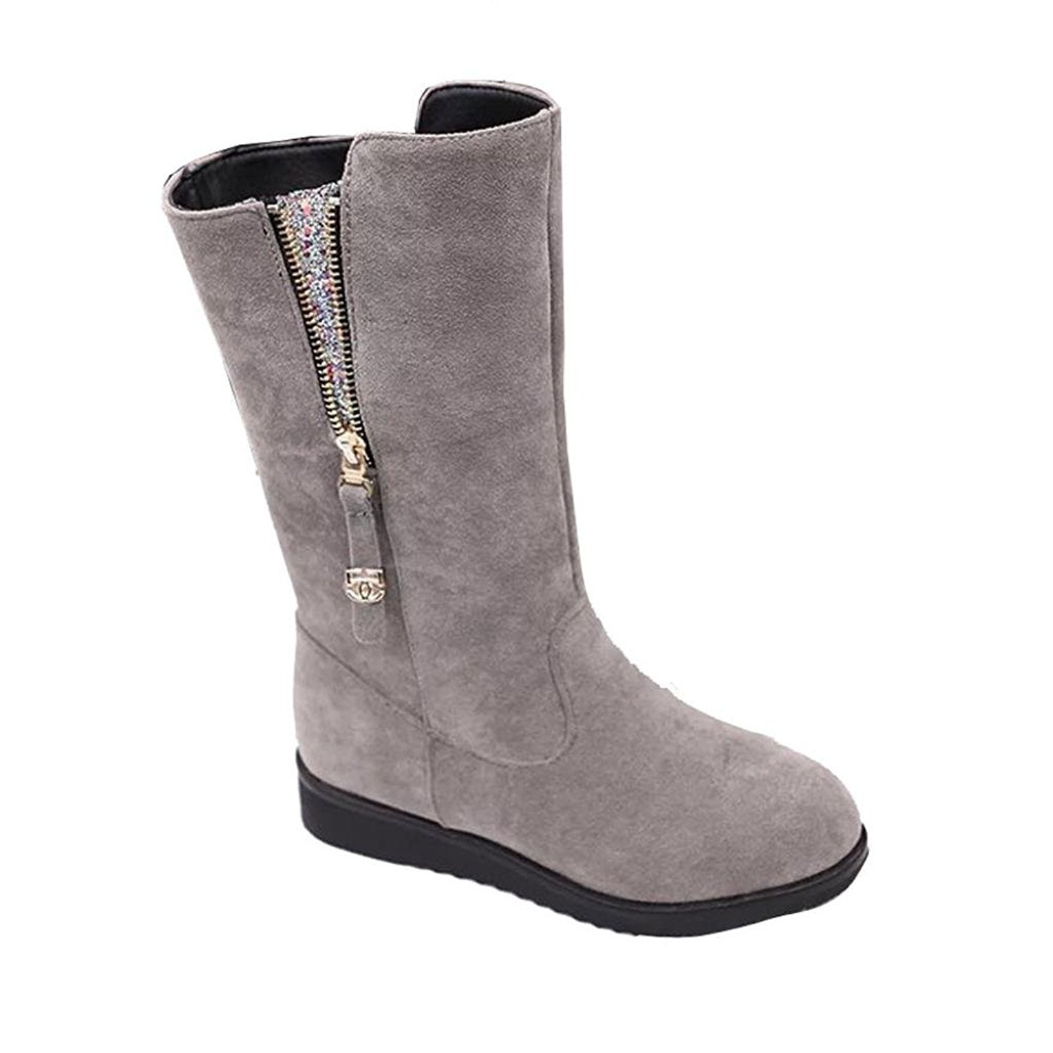 DEESEE(TM) Ladies Women Boots Flat Winter Warm Shoes Short Snow Boots (US 7, Gray)