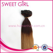 High quality ombre bundles 100% remy human hair extension clip in hair