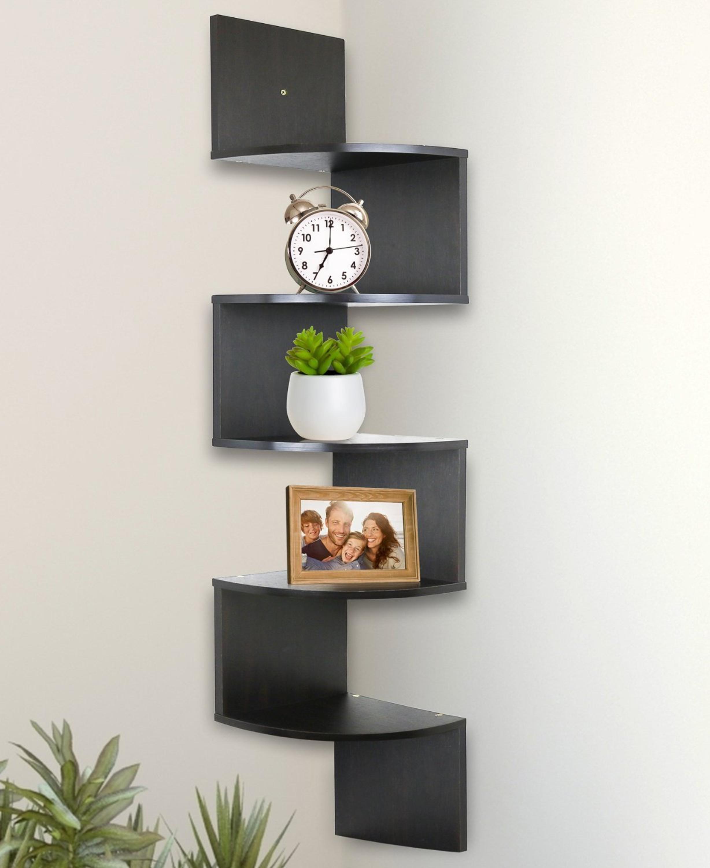 5 Tiers Livingroom Wall Mount Wooden Corner Zig Zag Shelf