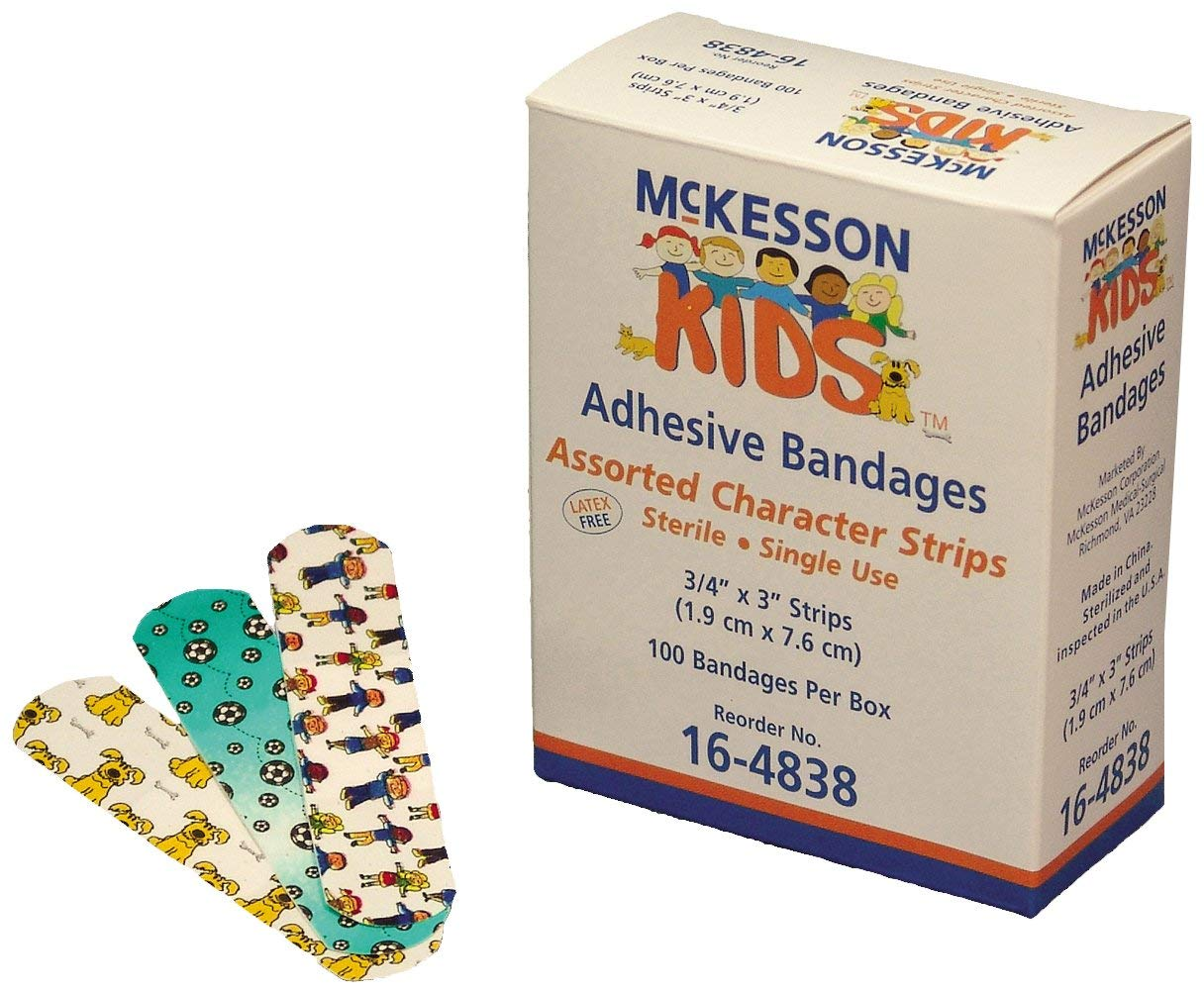 "McKesson 16-4838 Kids Adhesive Strip, 3/4"" Width, 3"" Length, 0.75"" Width, 3"" Length (Pack of 2400)"