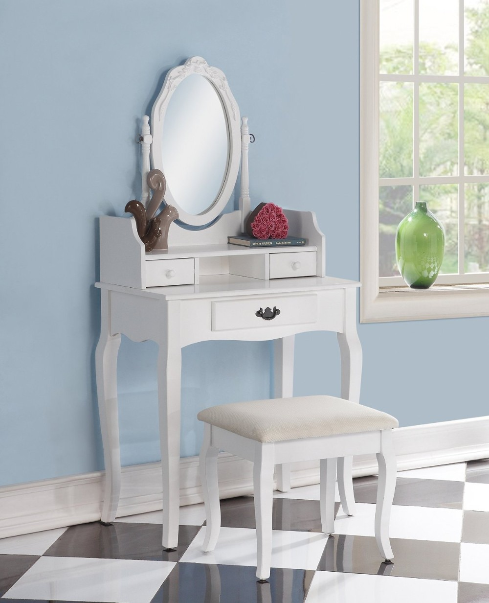 Elegant Dressing Table With 3 Drawers Wholesale Price Cheap Three- Drawers  Wood Makeup Vanity Table Set With Stool,Mirror