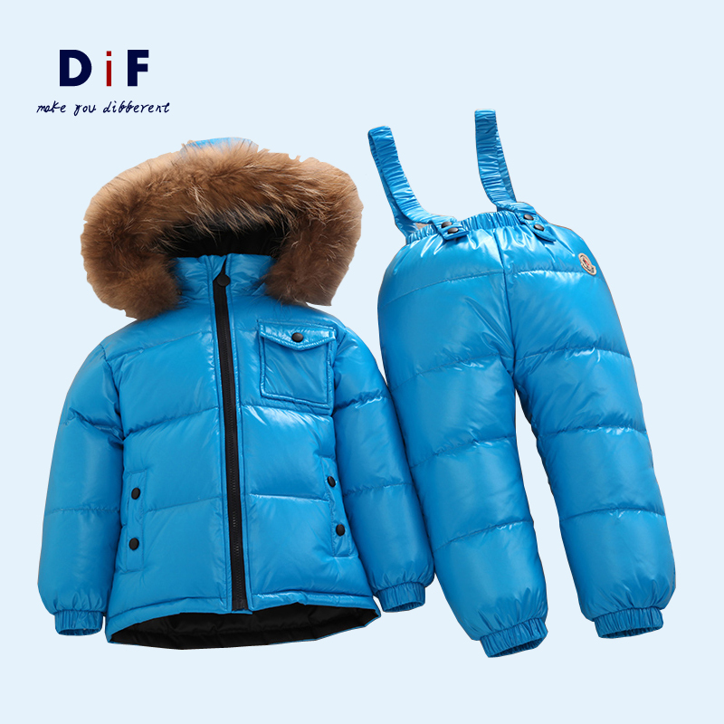 2015 Winter New Natural Fur White Duck Down Children's Sets Boys Girls Thicken Warm Jumpsuit Kids Clothing Set Down Jacket+Pant
