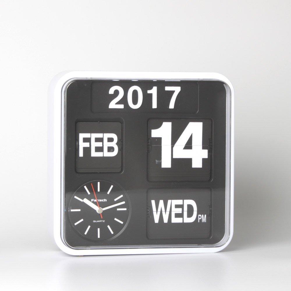 Homeloo Fartech Retro Modern 12 Inches Calendar Auto Flip Desk Wall Clock White